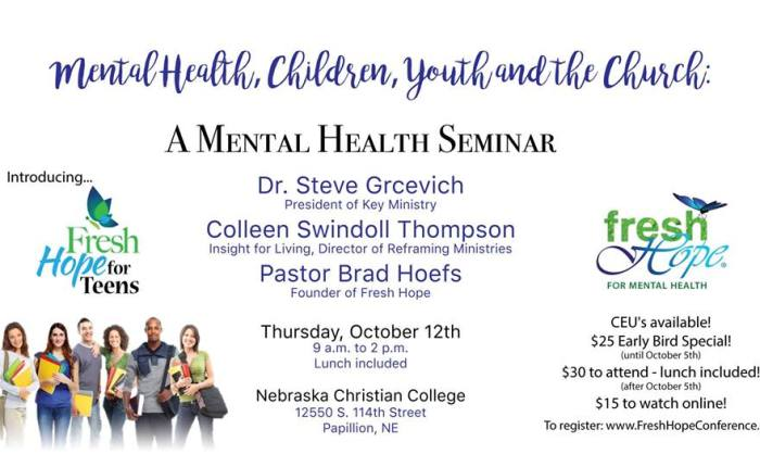 Mental Health, Children, Youth and the Church Seminar October 12, 2017